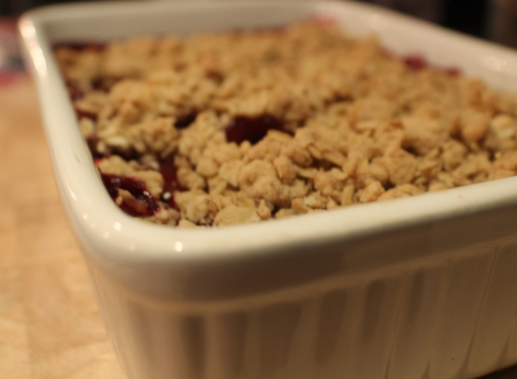 Plum and Blackberry Crumble