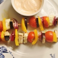 Veggie Kebabs with Spicy Harissa Dip for #WeekdaySupper